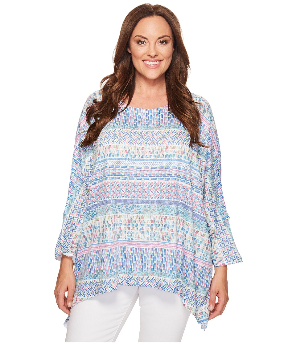 Nally & Millie - Plus Size Ikat Stripe Printed Tunic (Multi) Women's Clothing