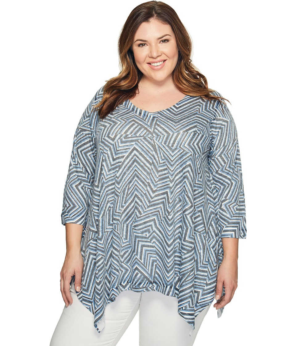 Nally & Millie - Plus Size Zigzag Print Tunic (Multi) Women's Clothing