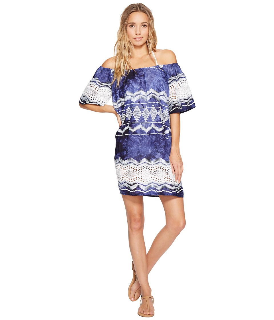 La Blanca Denim Lace Off The Shoulder Dress Cover-Up (Denim) Women