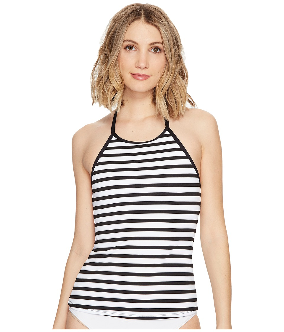 La Blanca Mime Games Hi-Neck Halter Tankini Top (Black/White) Women