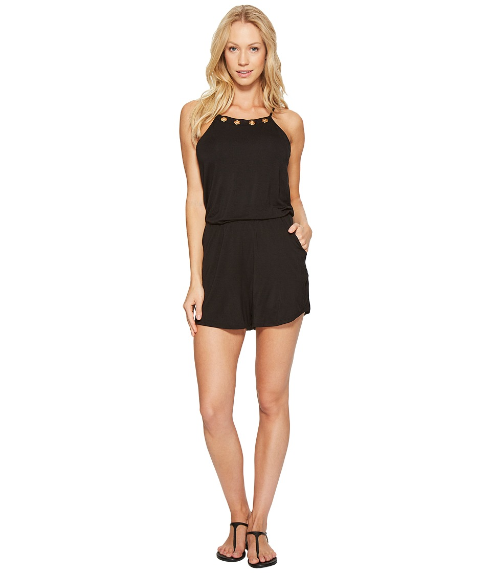 La Blanca - Eyes On You Hi-Neck Romper Cover-Up (Black) Women's Jumpsuit & Rompers One Piece