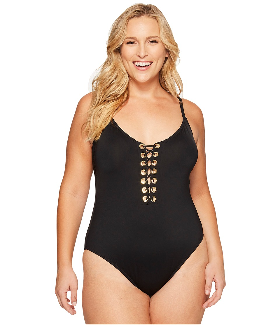 La Blanca - Plus Size Eyes On You Lace-Up Plunge OTS Mio (Black) Women's Swimsuits One Piece