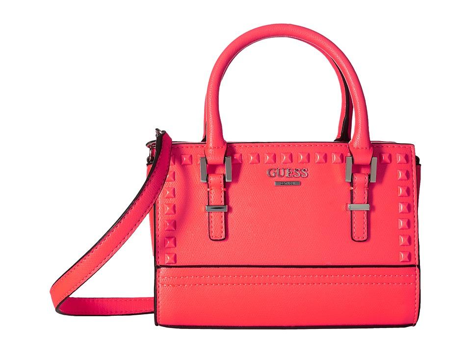 GUESS - Devyn Petite Satchel (Neon Pink) Satchel Handbags