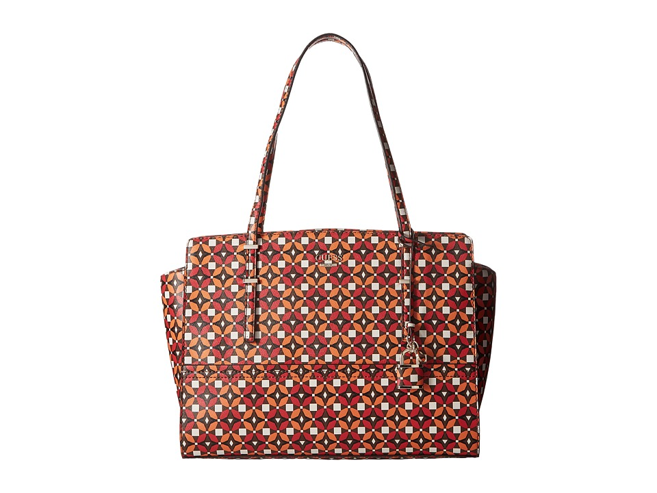 GUESS - Devyn Large Satchel (Ruby Multi) Satchel Handbags