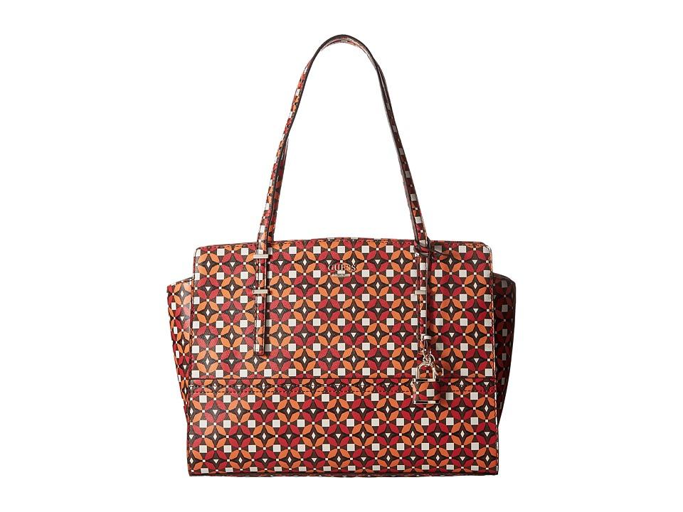 GUESS - Devyn Large Satchel (Ruby Multi) Satchel Handbags