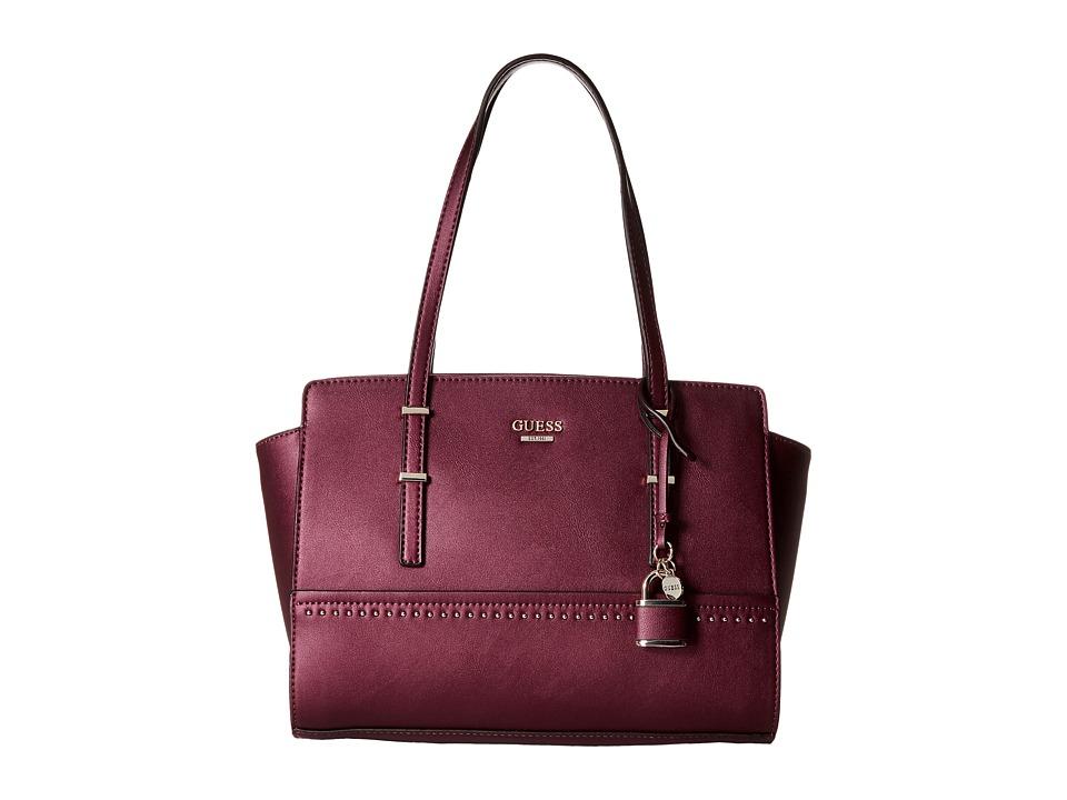 GUESS - Devyn Satchel (Bordeaux) Satchel Handbags
