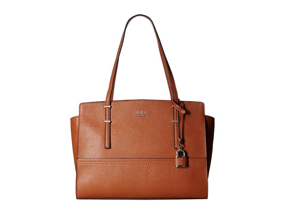 GUESS - Devyn Large Satchel (Cognac 1) Satchel Handbags