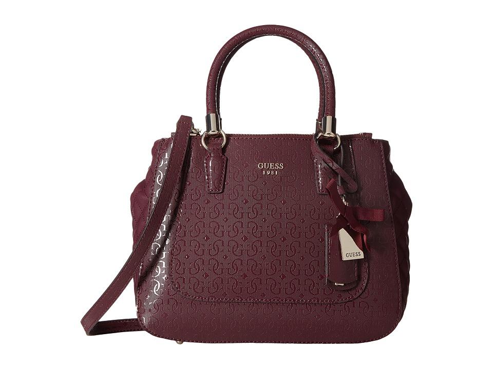 GUESS - Marian Status Satchel (Bordeaux) Satchel Handbags