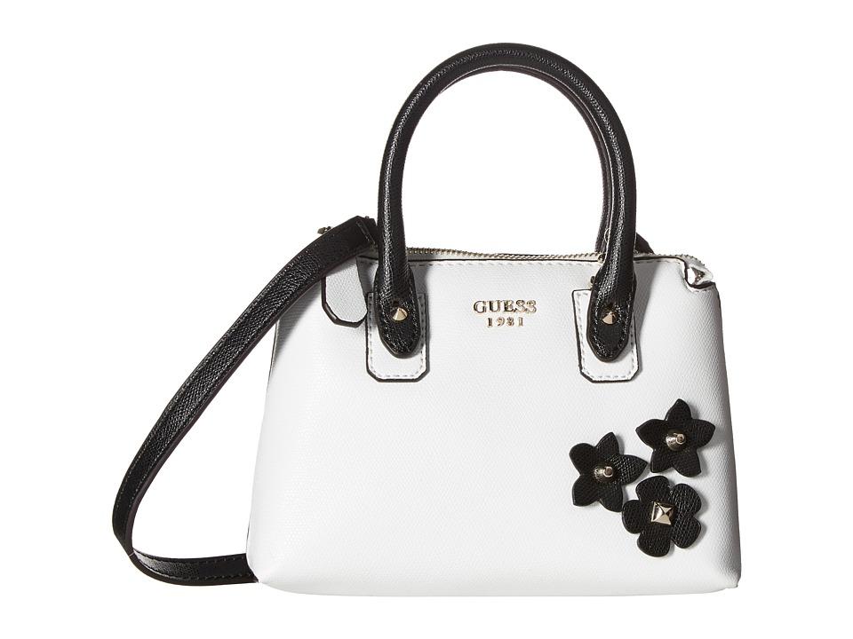 GUESS - Liya Petite Satchel (White Multi) Satchel Handbags
