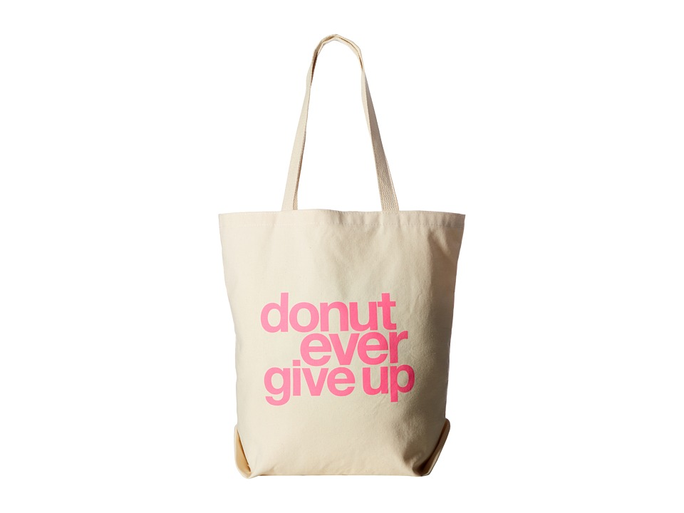 Dogeared - Donut Ever Give Up Tote (Pink/Canvas) Tote Handbags