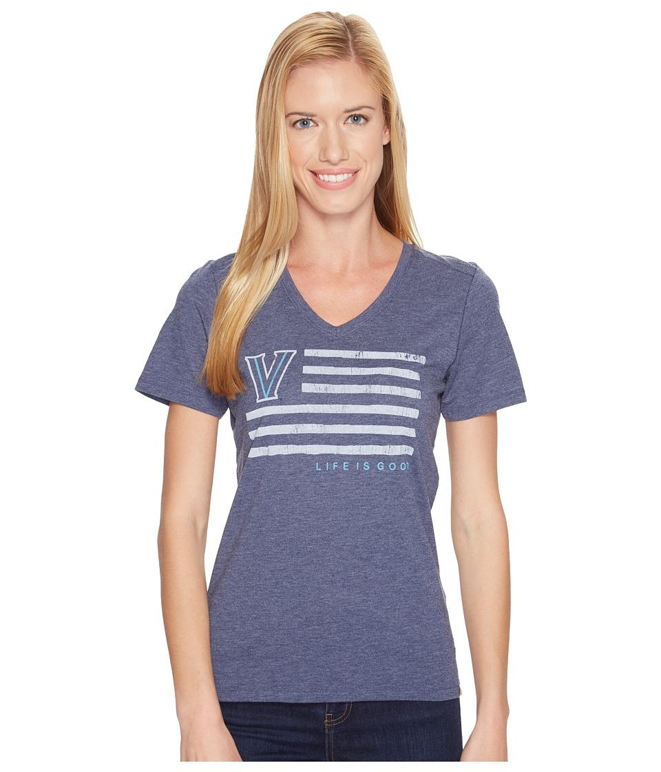 Life is Good - Villanova Wildcats Team Flag Cool Vee (Darkest Blue) Women's Short Sleeve Pullover