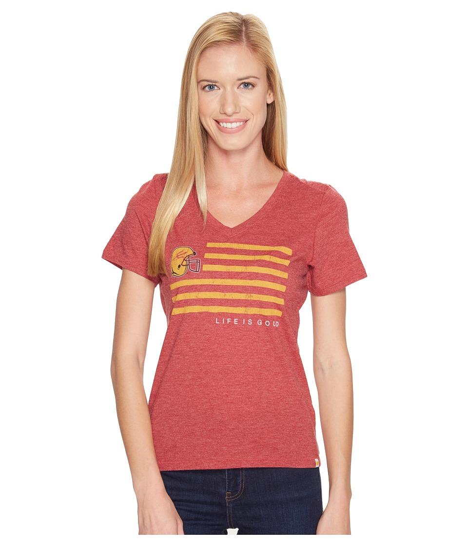Life is Good - Arizona State Sun Devils Team Flag Cool Vee (Sport Maroon) Women's Short Sleeve Pullover