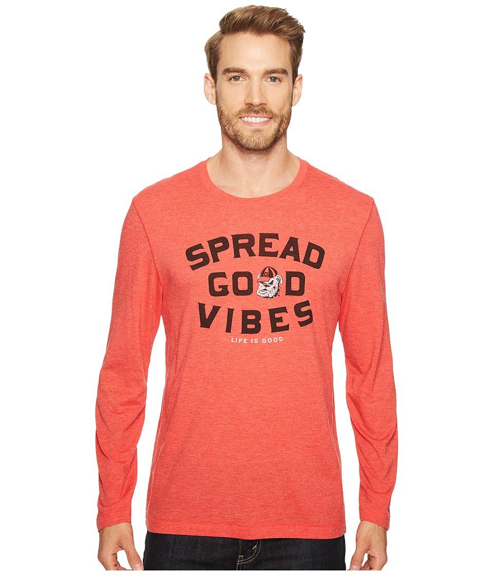 Life is Good - Georgia Bulldogs Good Vibes Long Sleeve Cool Tee (Sport Red) Men's T Shirt