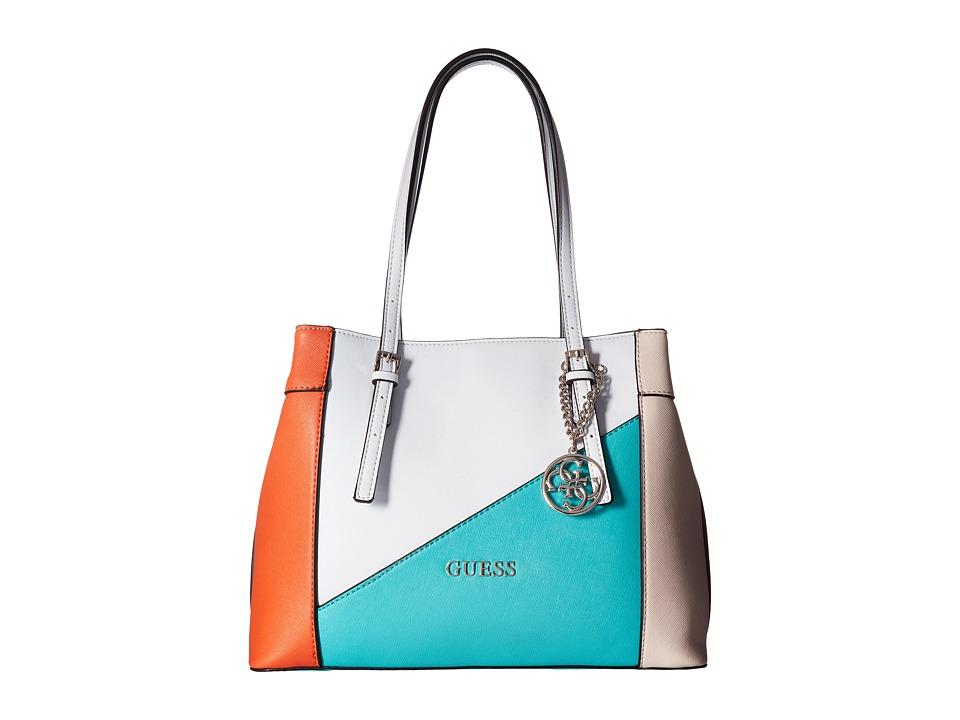 GUESS - Delaney Shopper (Turquoise Multi) Handbags
