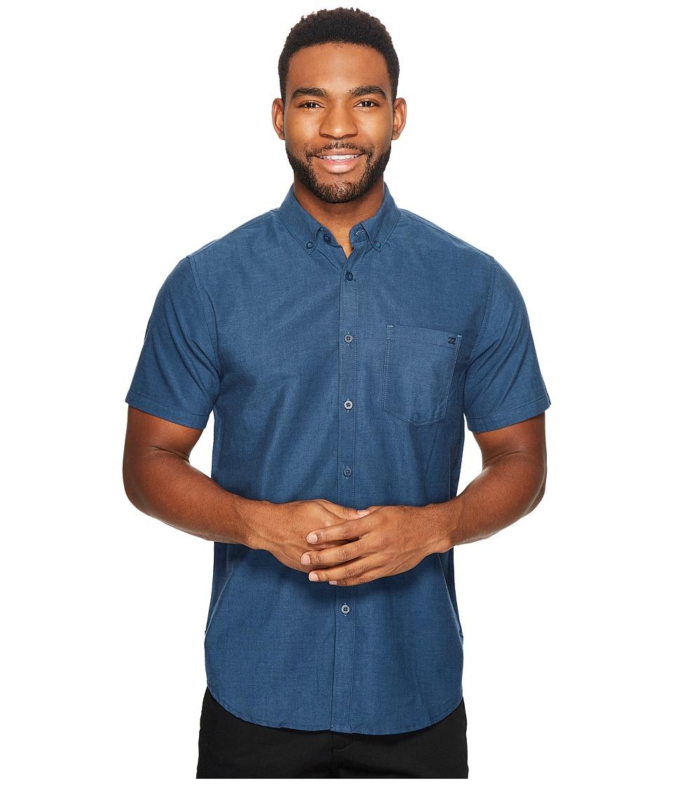 Billabong - All Day Chambray Short Sleeve Woven Top (Navy/Blue) Men's Clothing