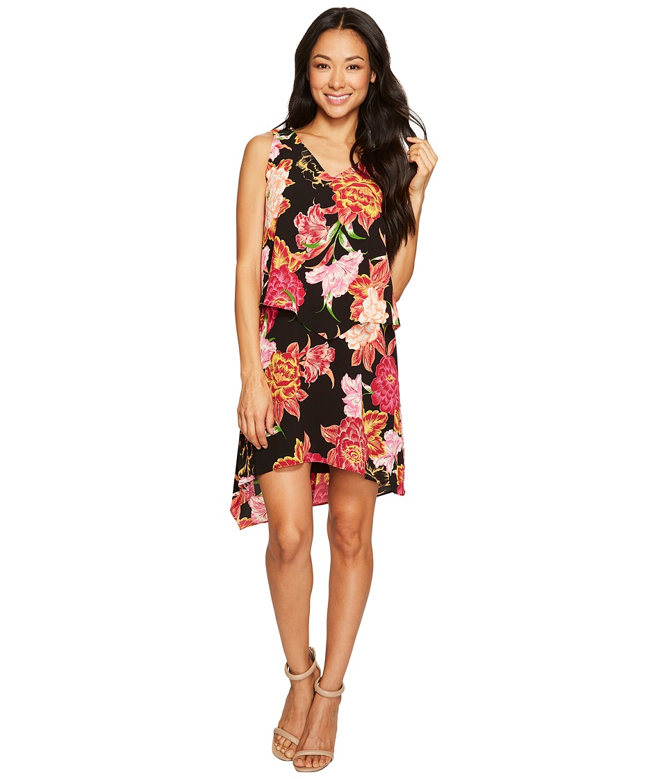 Tahari by ASL Petite - Petite Tiered Floral Chiffon Shift Dress (Black/Hibiscus/White) Women's Dress