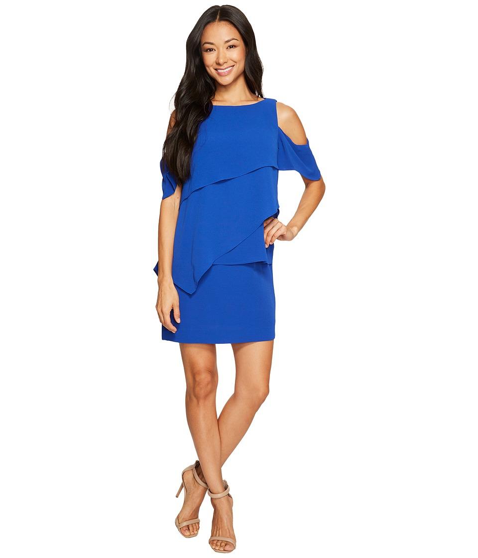 Tahari by ASL Petite - Petite Draped Cold Shoulder Shift Dress (Cobalt) Women's Dress