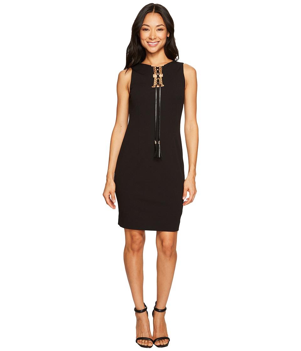 Tahari by ASL Petite Lace-Up Sleeveless Sheath Dress (Black) Women