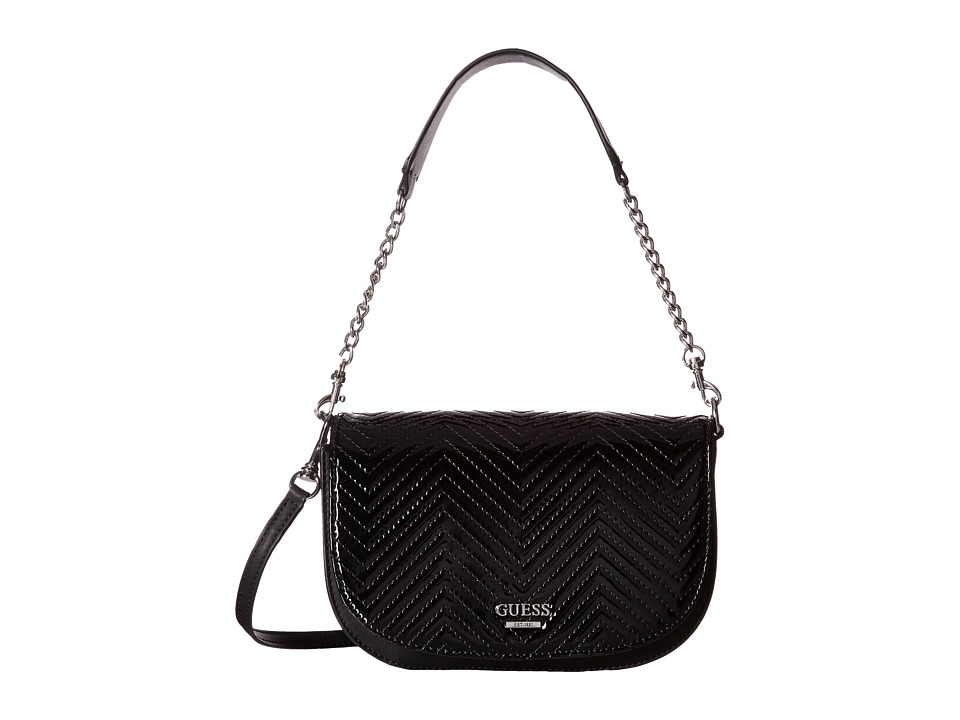 GUESS - Devyn Crossbody Saddle Bag (Black Shine) Cross Body Handbags