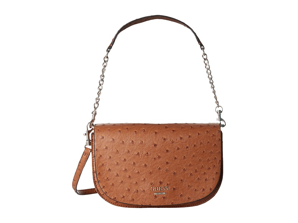 GUESS - Devyn Crossbody Saddle Bag (Cognac) Cross Body Handbags