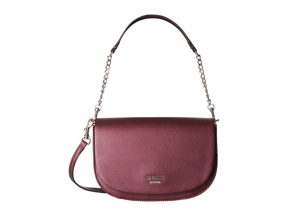 GUESS - Devyn Crossbody Saddle Bag (Bordeaux) Cross Body Handbags