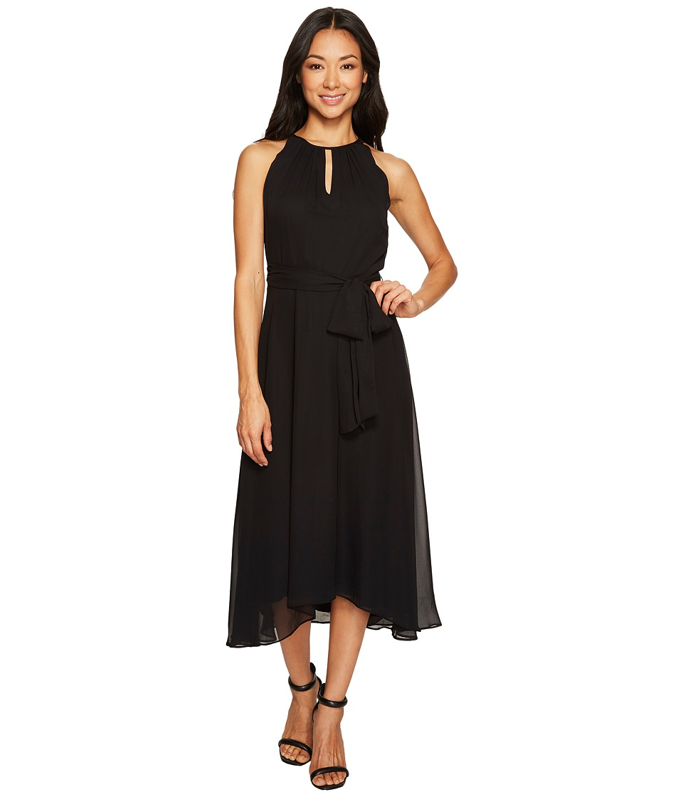 Tahari by ASL Petite - Petite Chiffon Tea-Length Keyhole Neck Dress (Black) Women's Dress