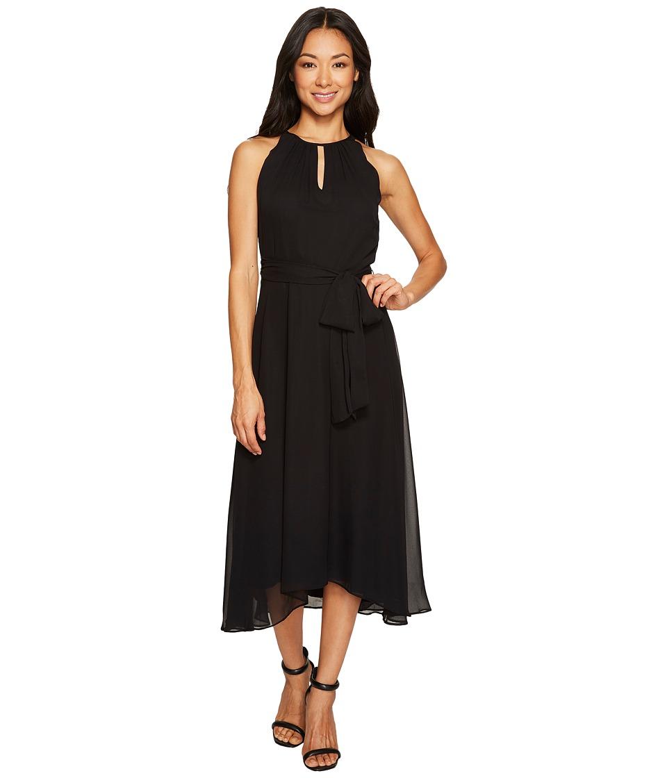 Tahari by ASL Petite Petite Chiffon Tea-Length Keyhole Neck Dress (Black) Women