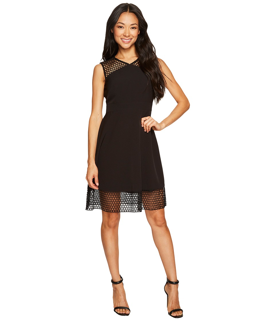 Tahari by ASL Petite Petite Embroidery Trim Fit and Flare Dress (Black) Women