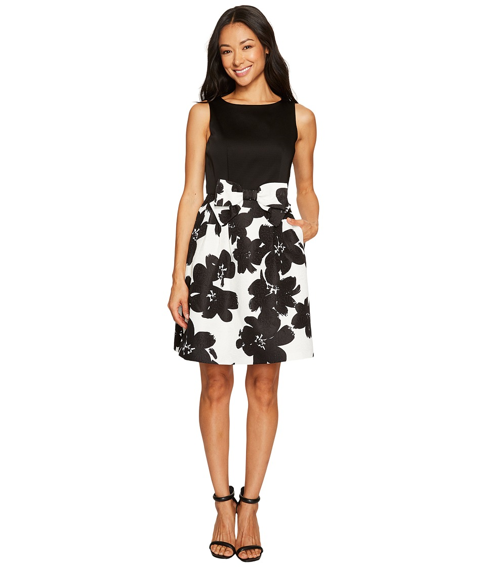 Tahari by ASL Petite - Petite Jacquard Skirt Fit and Flare Dress (Black/Ivory) Women's Dress