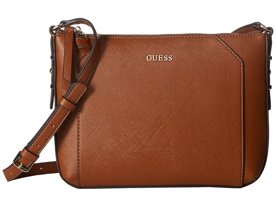 GUESS - Gia Crossbody Top Zip (Cognac) Cross Body Handbags