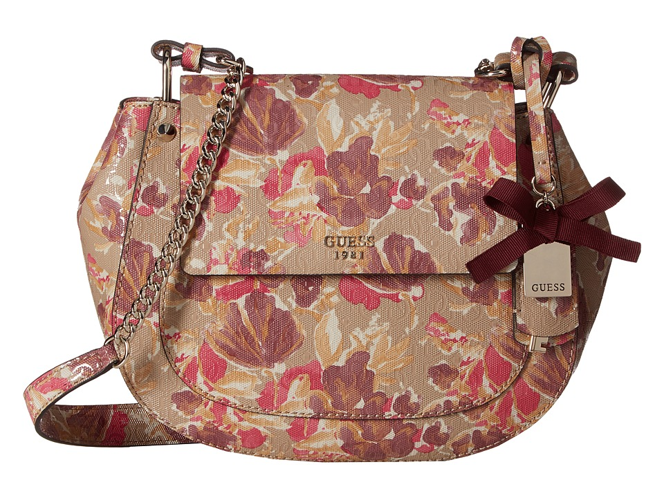 GUESS - Marian Crossbody Saddle Bag (Floral Multi) Cross Body Handbags