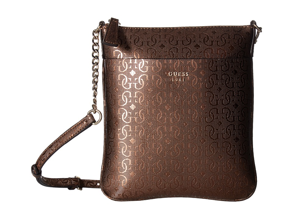 GUESS - Marian Petite Crossbody Top Zip (Bronze) Cross Body Handbags
