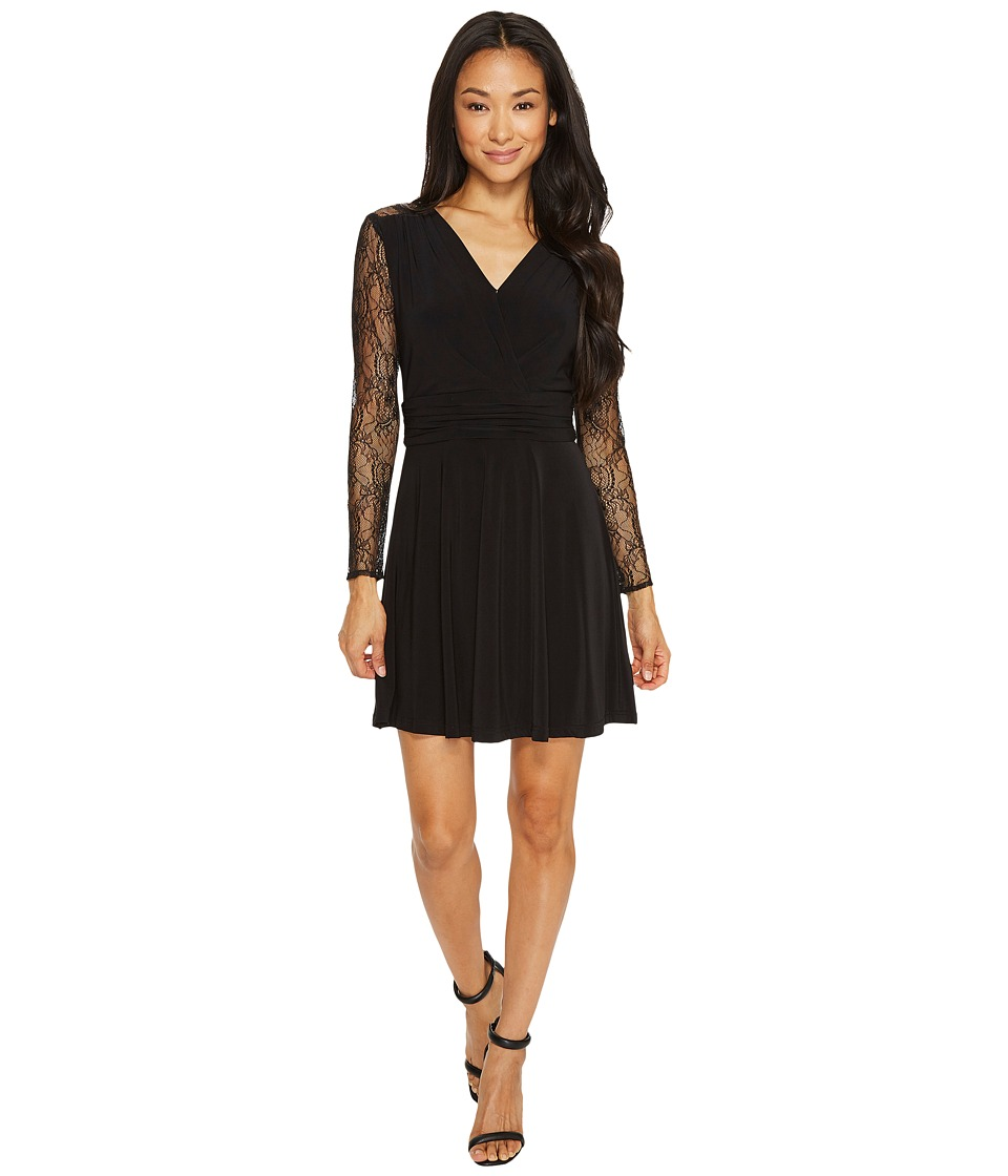 Tahari by ASL Petite Faux-Wrap Dress with Lace Sleeves (Black) Women