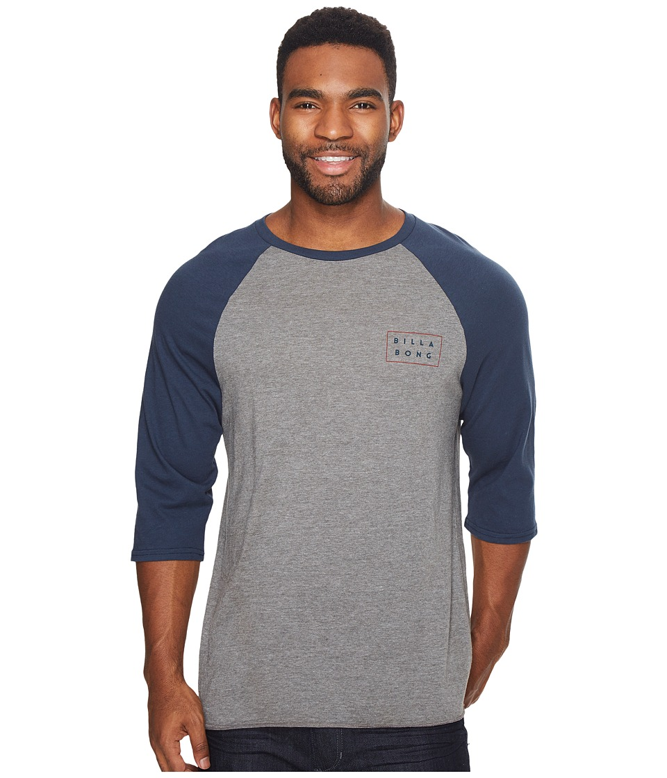 Billabong - Die Cut Raglan Tee (Grey) Men's Long Sleeve Pullover