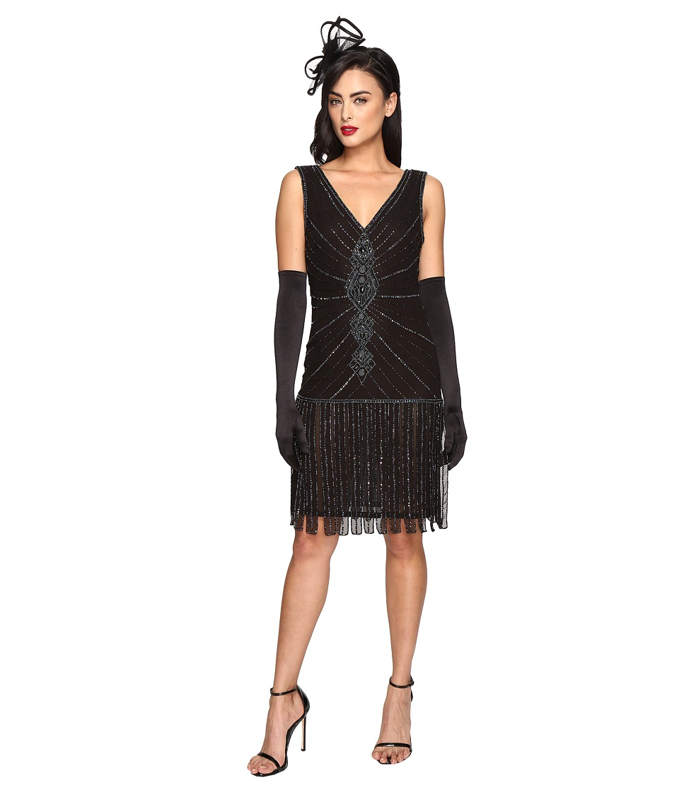 Unique Vintage - 1920s Deco Beaded Fringe Aelita Flapper Dress (Black) Women's Dress