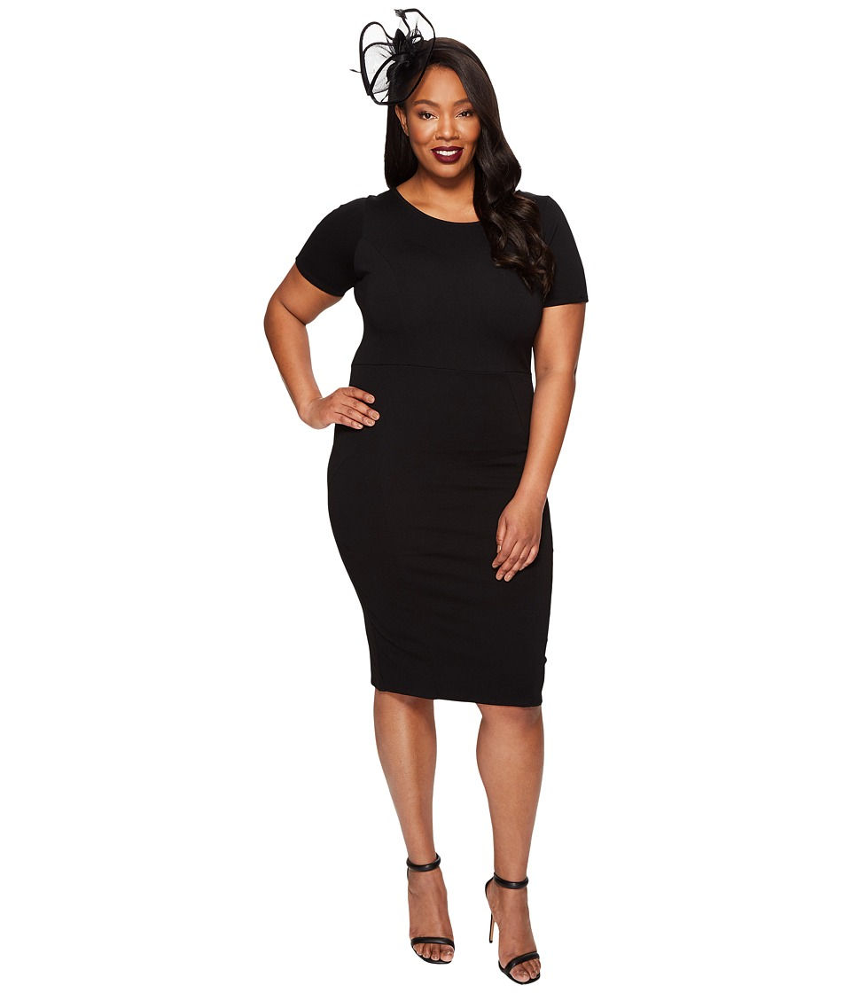 Unique Vintage Mod Wiggle Knit Dress (Black) Women