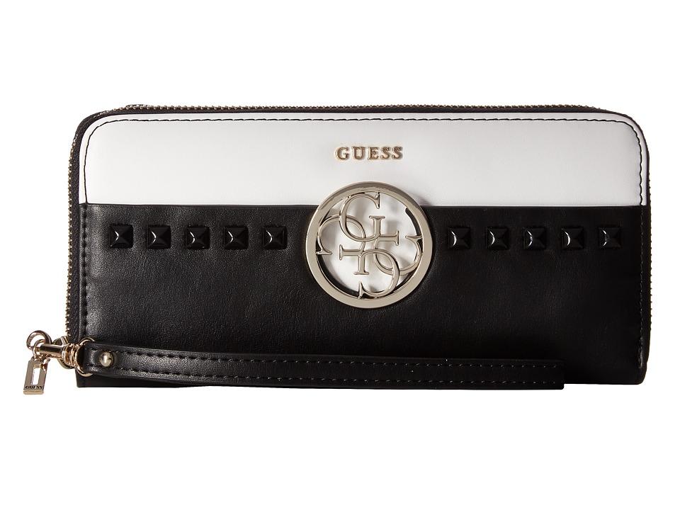 GUESS - Devyn SLG Large Zip Around (Black Multi) Handbags