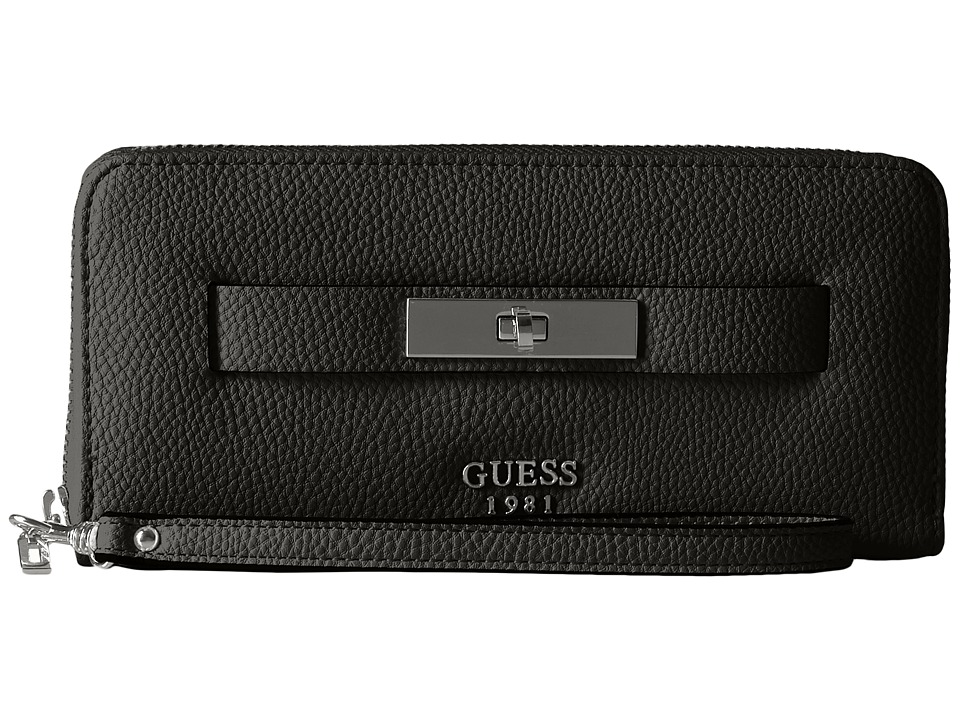 GUESS - Darby SLG Large Zip Around (Black) Handbags