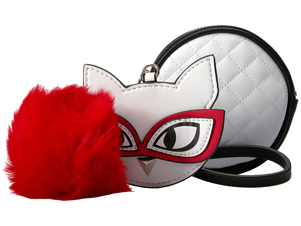 GUESS - Clare Meow Pouch Keychain (White) Handbags