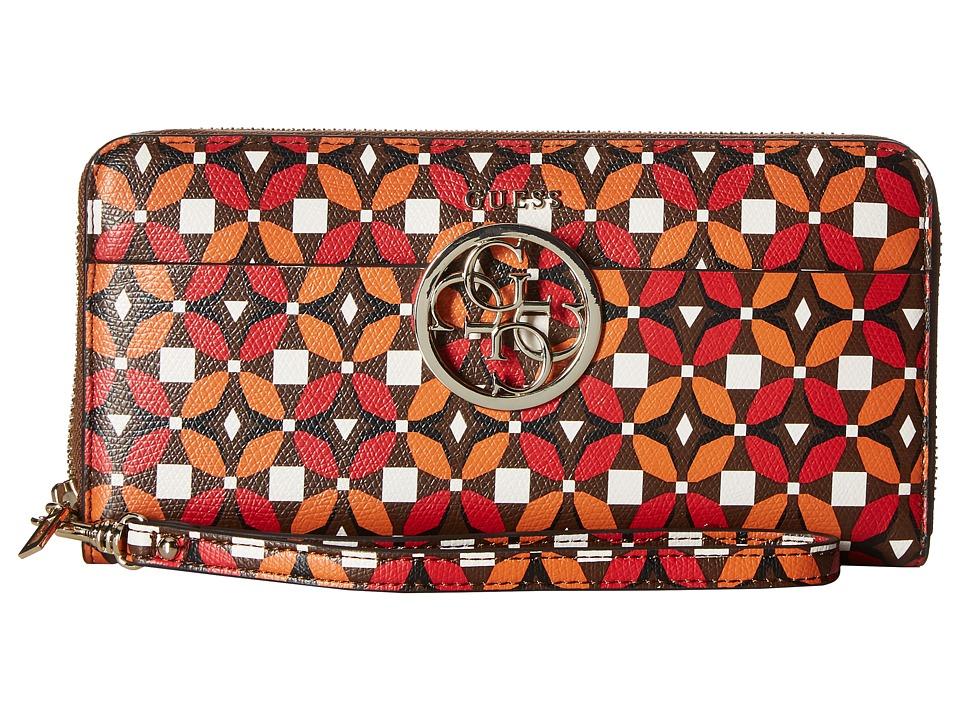 GUESS - Devyn SLG Large Zip Around (Ruby Multi) Handbags