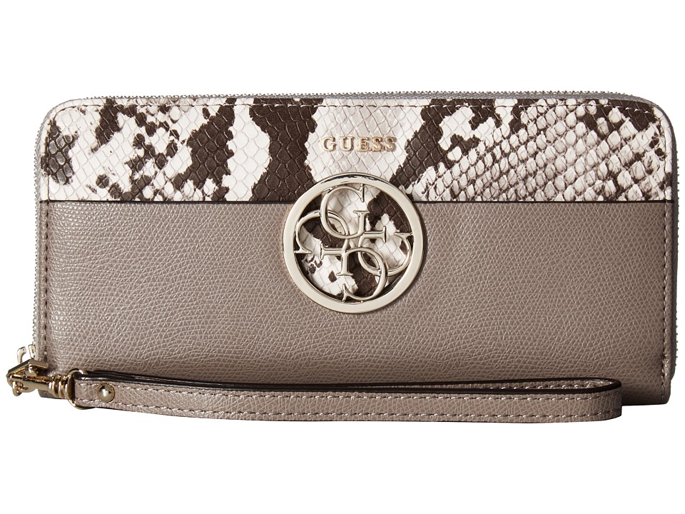 GUESS - Devyn SLG Large Zip Around (Taupe Multi) Handbags