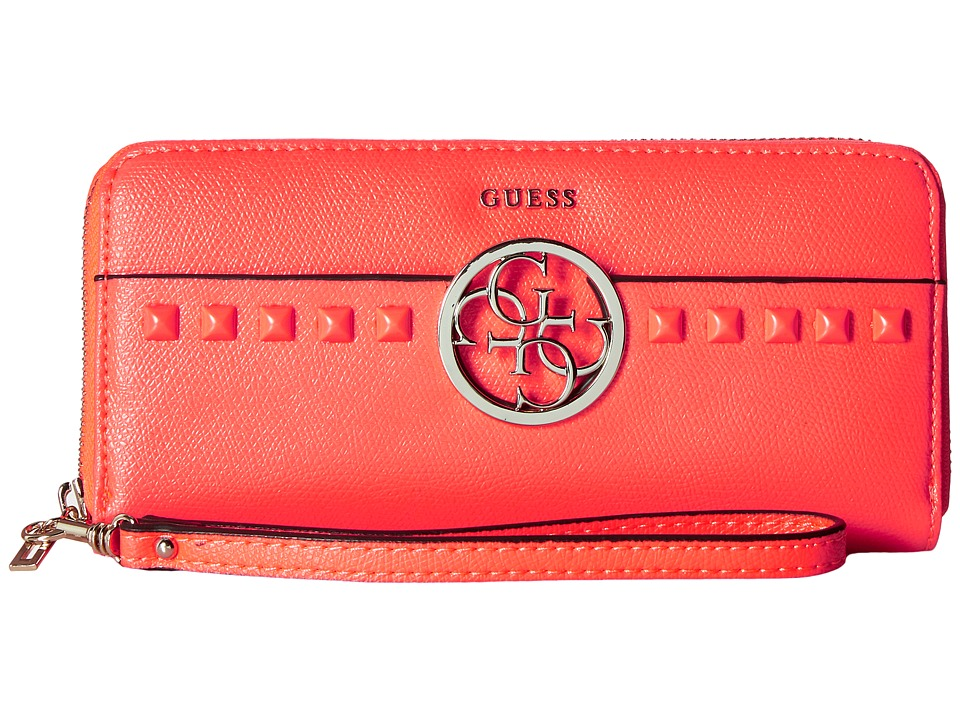 GUESS - Devyn SLG Large Zip Around (Neon Pink) Handbags