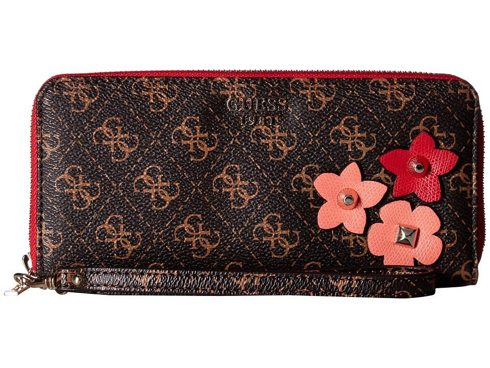 GUESS - Liya SLG Large Zip Around (Brown) Handbags