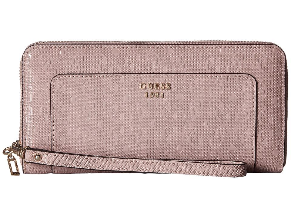 GUESS - Marian SLG Large Zip Around (Blush) Handbags