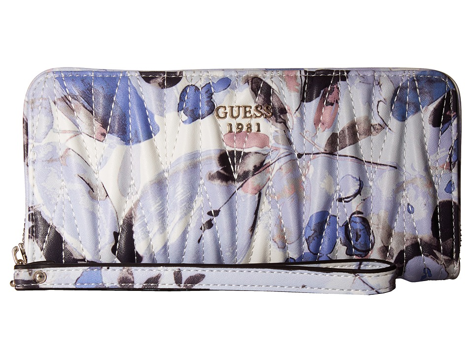 GUESS - Keegan SLG Large Zip Around (Blue Floral) Handbags