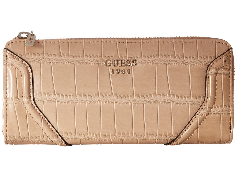 GUESS - Georgie SLG Slim Zip Wallet (Nut) Handbags