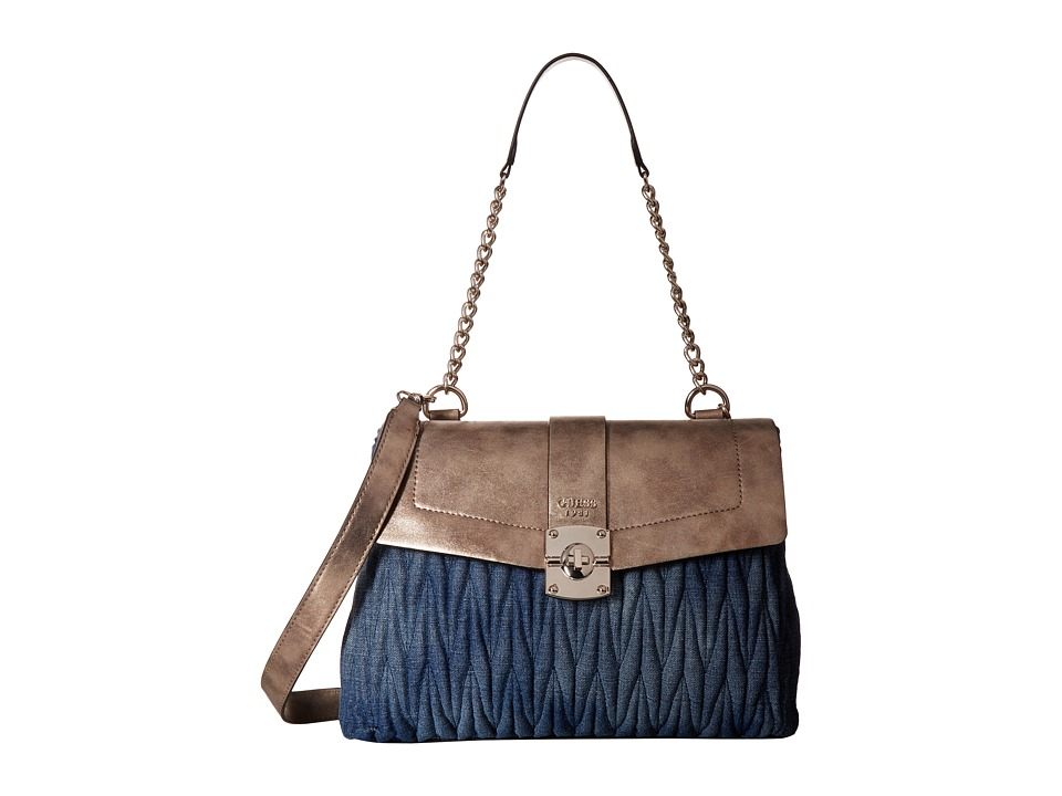 GUESS - Keegan Shoulder Bag (Denim) Handbags