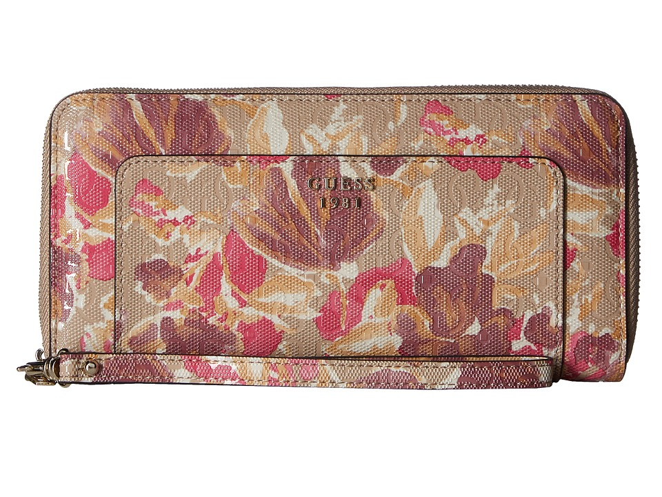 GUESS - Marian SLG Large Zip Around (Floral Multi) Handbags
