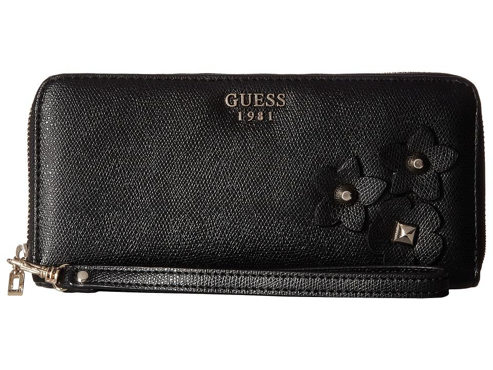 GUESS - Liya SLG Large Zip Around (Black) Handbags