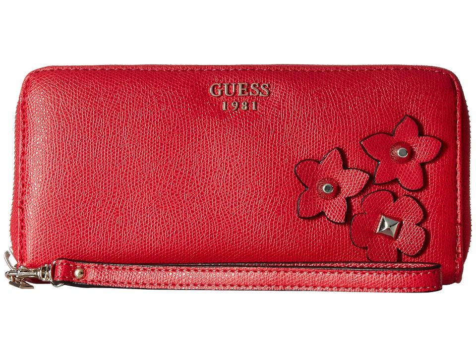 GUESS - Liya SLG Large Zip Around (Red) Handbags